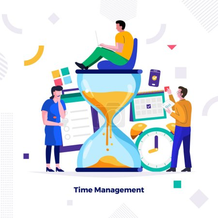 Photo for Illustrations concept design of time management. businessman can control work and life. Use for banner website and content. Vector illustrate. - Royalty Free Image