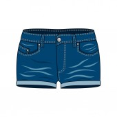 Women's clothing - denim shorts Isolated on white background Vector illustration for your fashion design EPS10