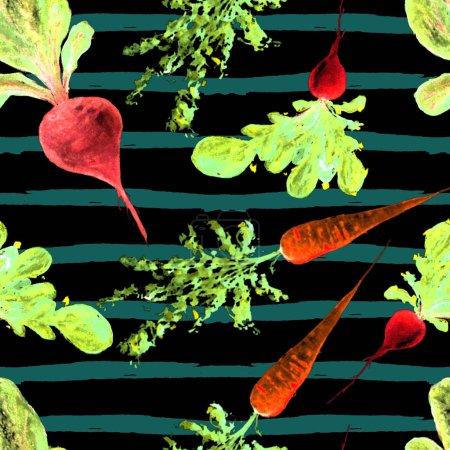 Photo for Watercolor Vegan Pattern. Seamless Hand Drawn  Vegetables. Healthy Food Print. Gardening Background. Greenery Repeatable Design for Menu, Restaurant, Salat Bar, Farmers Market. Redish. Vegetarian. - Royalty Free Image