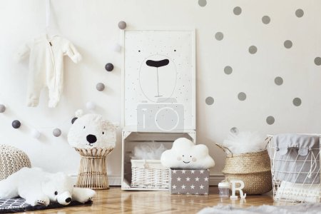 Photo for Light children room in scandinavian style with drawing in frame on wall - Royalty Free Image
