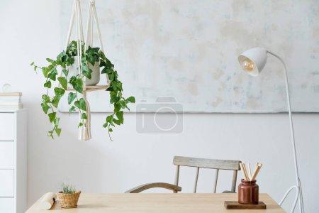 Photo pour Chambre confortable décorée avec l'intérieur vert de plantes - image libre de droit