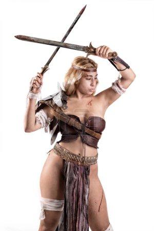 Photo pour Ancienne guerrière ou Gladiateur isolé en blanc - image libre de droit