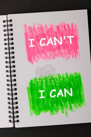 Photo for I Can't and I Can text on painted sketchbook in red and green. Business concept. - Royalty Free Image