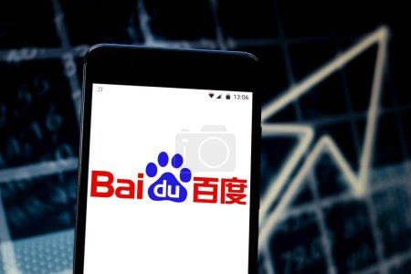 Photo pour 22 avril 2019, Brésil. Logo Baidu sur l'appareil mobile. Baidu est l'un des plus grands moteurs de recherche dans le monde et le dominant dans la République populaire de Chine. - image libre de droit