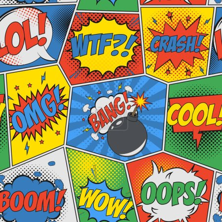 Illustration for Comic seamless background. Pop art retro pattern with speech bubbles and bomb. Backdrop for design of comics book. Vector illustration. - Royalty Free Image