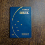 Brazilian passport on wooden background...