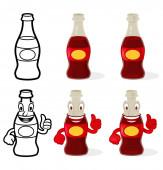 Set glass bottle frizzy drink