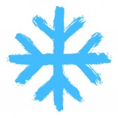Snowflake 10 from set 05 Drawing of a snow flake painted by hand bold brushstroke Quick and easy sketching or technique imitating children's drawing Design graphic element vector illustration EPS