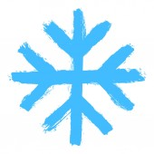 Snowflake 08 from set 05 Drawing of a snow flake painted by hand bold brushstroke Quick and easy sketching or technique imitating children's drawing Design graphic element vector illustration EPS