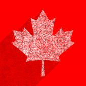 Canadian flag The Maple Leaf symbol with long shadow on square designed in flat style with used paint texture This design graphic element is saved as a vector illustration in the EPS file format