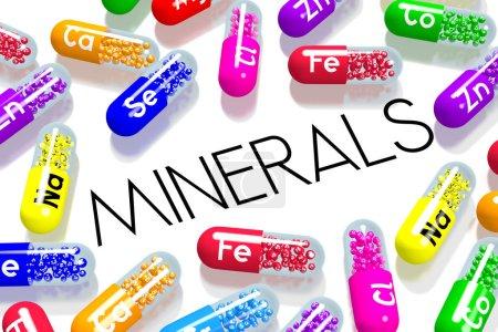 Photo pour Concept Minéraux - pilules colorées - image libre de droit