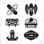 Skateboarding emblem or label set with descriptions of skate or