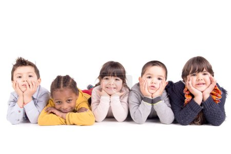 Photo for Little kids posing isolated in white - Royalty Free Image