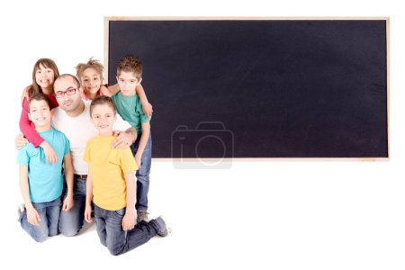 Photo pour Groupe d'enfants avec professeur isolé en blanc - image libre de droit