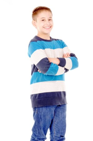 Photo pour Petit garçon isolé en blanc - image libre de droit