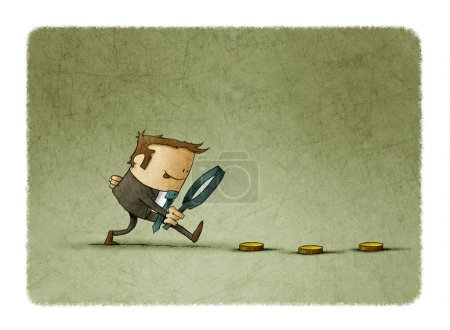 Businessman looking for money with magnifying glass. Business and finance concept