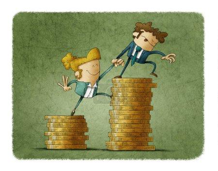 Photo pour Concept de l'inégalité de revenu montré avec une illustration d'un mâle et de personnages féminins et de tas de pièces de monnaie - image libre de droit