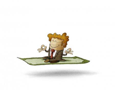 Foto de Empresario sentado en posición de loto y meditando sobre un billete de un dólar . - Imagen libre de derechos