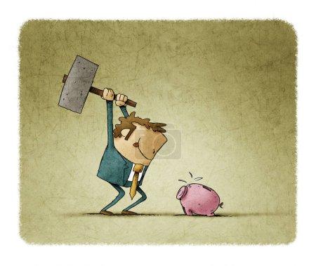 Photo pour Un homme d'affaires avec un marteau à la main va casser une tirelire et prendre les économies . - image libre de droit