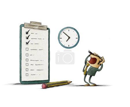 Photo pour Homme d'affaires stressé regarde son pour faire la liste inachevée. isolé - image libre de droit
