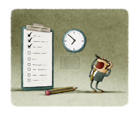 Photo for Stressed businessman looks at his to do list unfinished. - Royalty Free Image