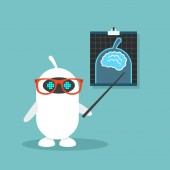 Artificial intelligence conceptual illustration Cute robot pointing at the x-ray image / flat editable vector illustration clip art