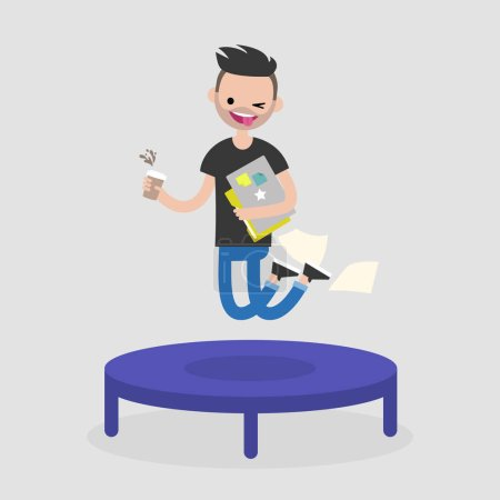 Career promotion. Cheerful employee jumping on the trampoline. B