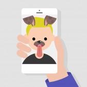 Funny mobile app Dog muzzle filter Millennials using smart phones Flat editable vector illustration clip art