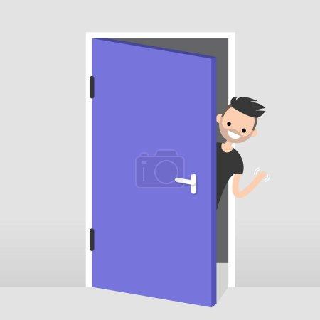 Illustration pour Jeune personnage regardant par derrière la porte. Bonjour ou au revoir en agitant la main. Bienvenue chez vous. Illustration vectorielle modifiable plate, clip art - image libre de droit