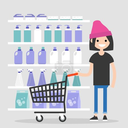 Illustration pour Jeune personnage féminin achetant des produits chimiques ménagers au supermarché. Une routine quotidienne. Produits de nettoyage. Illustration vectorielle modifiable plate, clip art - image libre de droit