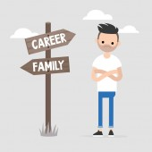 Young specialist making a choice between the career and family