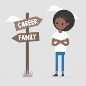Young female specialist making a choice between the career and f