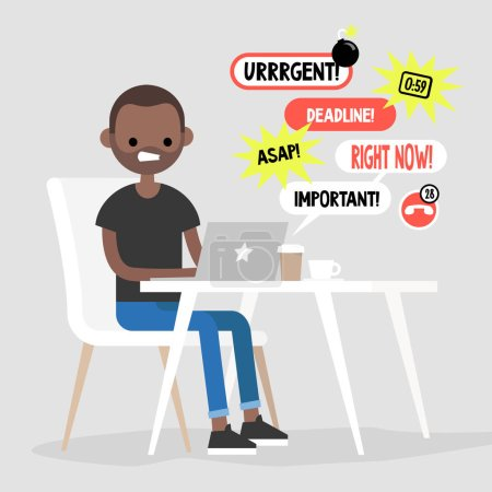 Young black manager receiving a bunch of notifications on the laptop messenger. Troubleshooting. Deadlines and urgent tasks. Business situation. Flat editable vector illustration, clip art