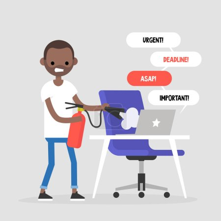 Troubleshooting, conceptual illustration. Young black character trying to extinguish a fire on his workplace / flat editable vector illustration, clip art