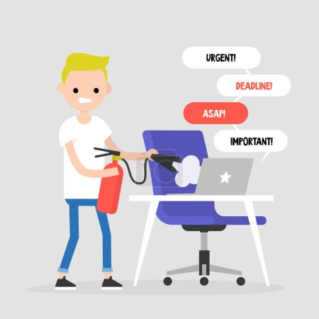 Troubleshooting, conceptual illustration. Young character trying to extinguish a fire on his workplace / flat editable vector illustration, clip art