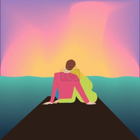 Illustration for Couple hugging back sitting on pier and watching sunset. colorful vector illustration - Royalty Free Image