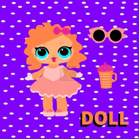 Illustration pour Jolie poupée aux cheveux rouges avec de grands yeux bleus. Bébé fille drôle avec biberon et lunettes de soleil.Illustration vectorielle pour carte d'invitation de décoration. Décor de fête surprise pour enfants. fond violet - image libre de droit