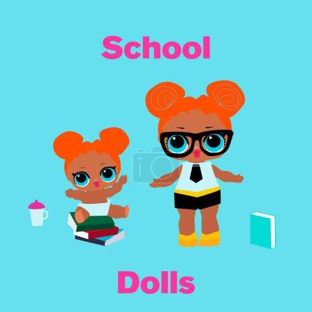 Illustration pour Jolie poupée scolaire et son enfant aux grands yeux bleus et aux cheveux roux. Bébés filles drôles avec bouteille et livre.Illustration vectorielle pour carte d'invitation de décoration. les enfants surprennent décor de fête. fond bleu - image libre de droit