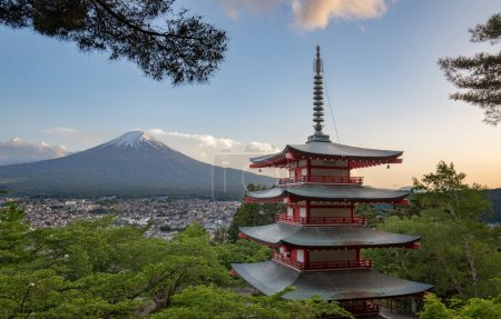 view of Mount Fuji from the Chureito Pagoda in springtime