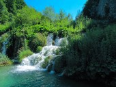 Beautiful Waterfall at Plitvice Lakes, Croatia in summer