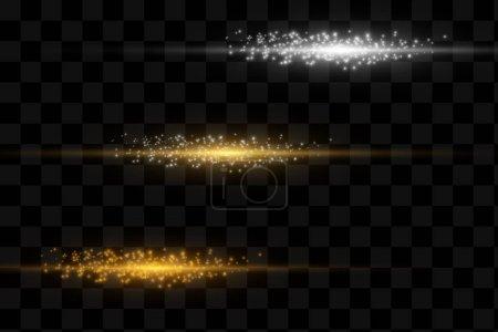 Illustration pour Ensemble de lumières magiques élégantes effet sur un fond transparent. - image libre de droit