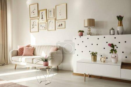 Photo pour Angle latéral d'un intérieur de la salle de séjour avec canapé blanc, table basse, armoire, collection d'art et plantes - image libre de droit