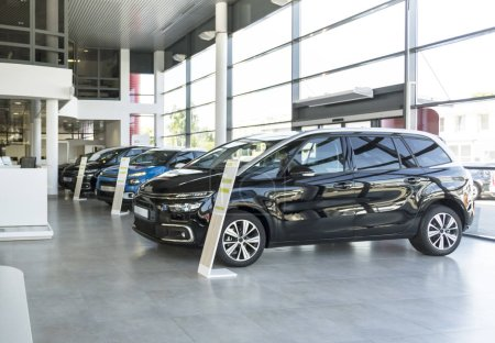 Shiny cars standing in a row in bright elegant car rental interior with windows on wall