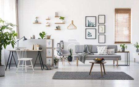 Foto de Moderna sala interior con decoración gris, muebles de madera y Galería de imágenes minimalistas de paredes blancas - Imagen libre de derechos