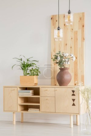Photo for Wooden cabinet with plants in a box and a vase on a white wall in a daily room interior. Real photo - Royalty Free Image