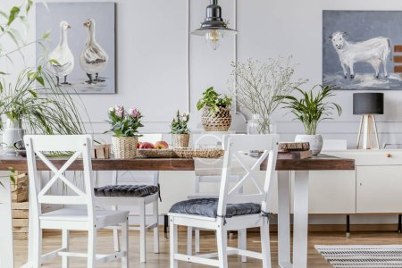White chairs at wooden table with flowers in dining room interior with posters and lamp. Real photo