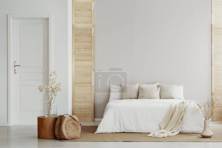 Photo for Beige and white bedroom in natural, rustic style - Royalty Free Image