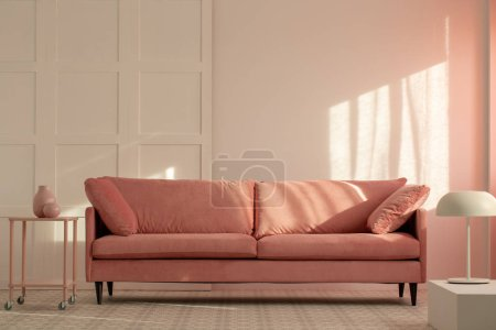 Photo for Pastel pink couch in white living room interior, copy space on empty wall - Royalty Free Image