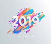 Creative happy new year 2019 card on modern motion background Vector illustration Perfect for presentations flyers and banners leaflets postcards and posters EPS10