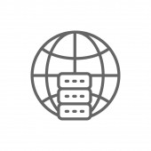 Global hosting server data centre line icon